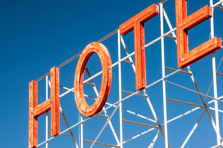 Neon hotel sign