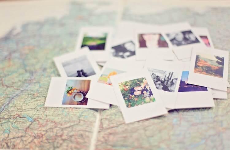 Travel photos on a map