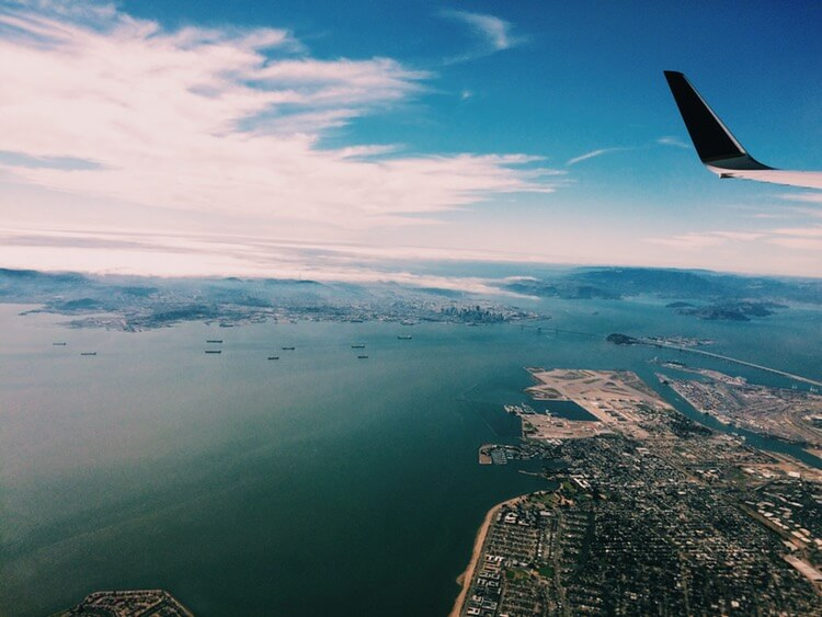 Out the window of an airplane